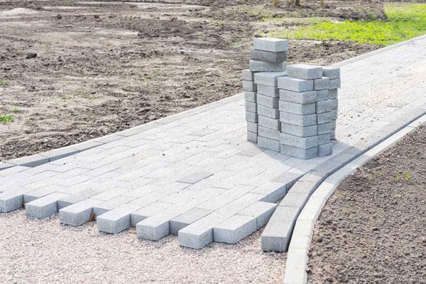 brick pavement being laid