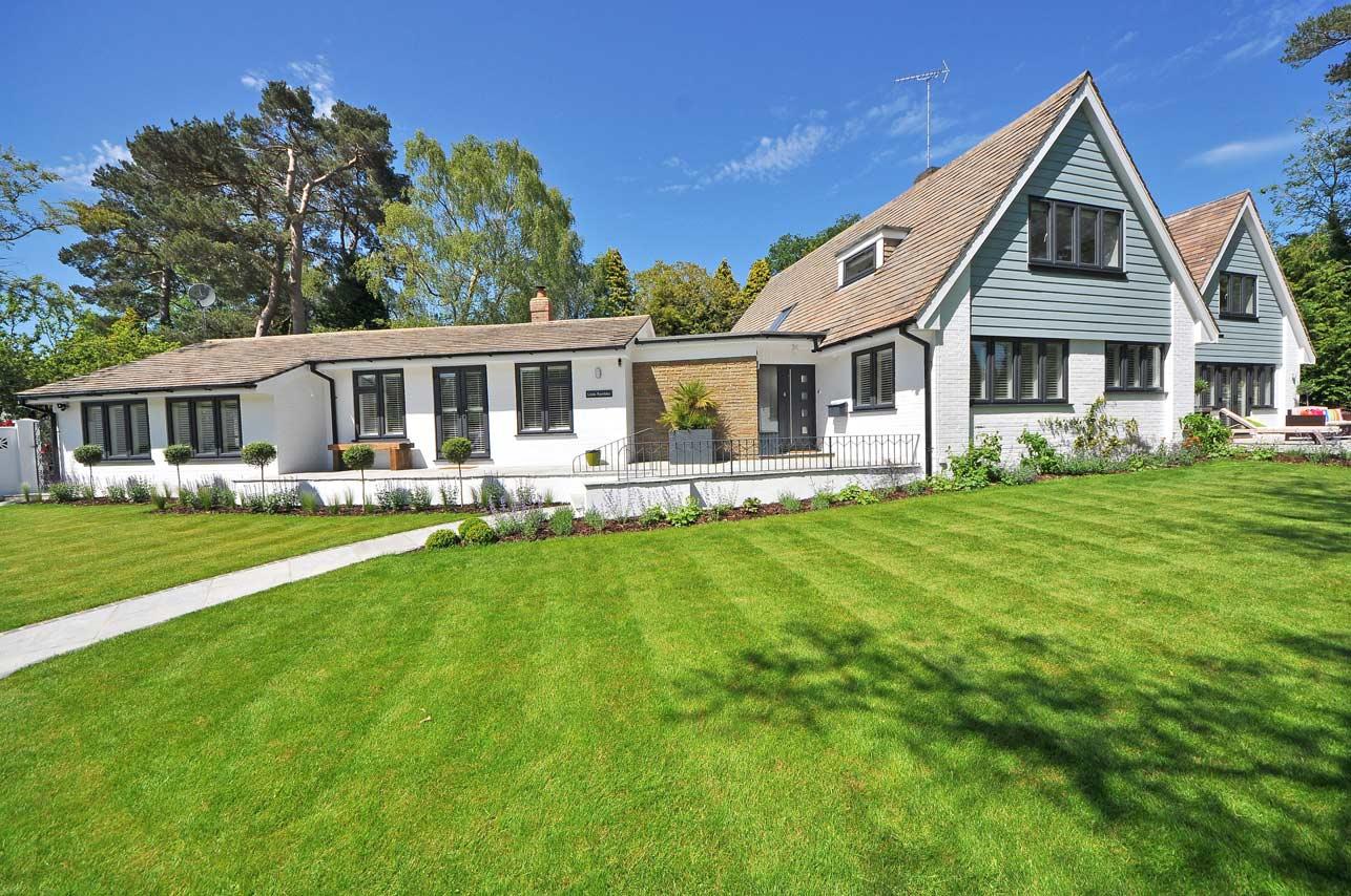 modern home mulched garden