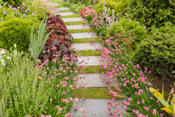 moss covered path with bluestone pavers